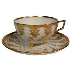 Belleek Willets Gold Gilded Cup & Saucer