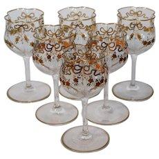 6 Baccarat Quadafoil Raised Gold Cordials Port Wines