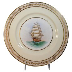 Rare Lenox Cabinet Plate with Hand Painted Ship G. Holmes