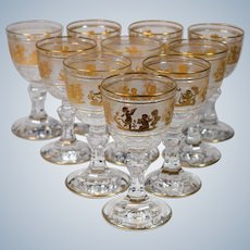 10 Val St. Lambert Danse De Flore Small Wine Glasses