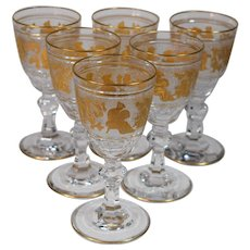 6 Val St. Lambert Danse De Flore  Small Wine Glasses