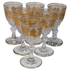 6 Val St. Lambert Danse De Flore  Small Wine Glasses