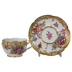Meissen Hand Painted Cup & Saucer Flowers & Gold Gild