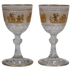 "Pair of Val St. Lambert Stemmed ""Danse de Flore"" Wine Glasses"