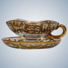 Moser Tea Cup & Saucer with Raised Paste Gold