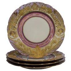 Limoges Set of 4 Heavy Raised gold Dinner Plates Purple