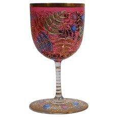 Moser Raised Gold and Enamel Stemmed Wine Glass