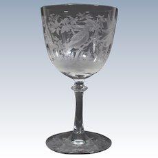 English Cut Glass Wine with Birds