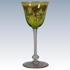 12 St. Louis Massenet Green & Gold wine Glasses