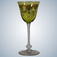 12 St. Louis Massenet Green & Gold wine Glasses