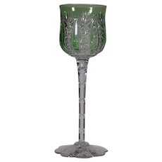 "Baccarat ""Conde"" Green Cut to Clear Wine Glass"
