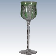 """Baccarat """"Conde"""" Green Cut to Clear Wine Glass"""