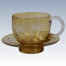 Stevens & William Yellow Cut to Clear Cup & Saucer