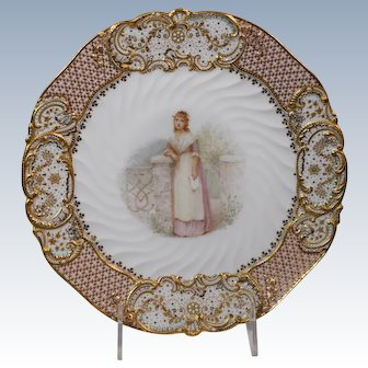"""Copeland Jeweled """"Old Songs"""" Cabinet Plate Artist Signed Samuel Alcock"""