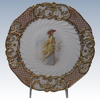 """Copeland Jeweled """"Old Songs"""" Cabinet Plate"""