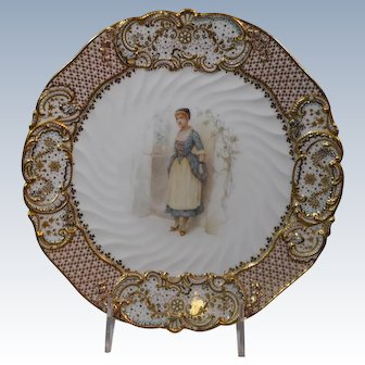 """Copeland Jeweled """"Old Songs"""" Cabinet Plate Artist Signed"""