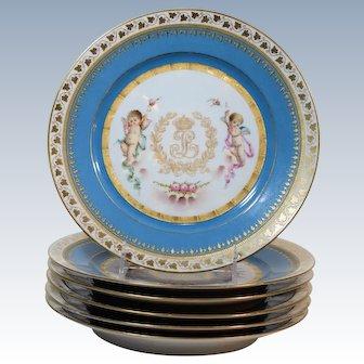 6 Sevres H.P. Chateau des Tuileries Cabinet Plates