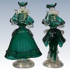 2 Murano Venetian Blown Glass Figures in 18th Century Dress