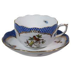 Herend Tea Cup & Saucer Blue Rothchild Bird