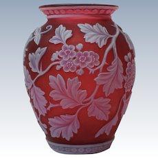 Fine Webb Red Cameo Glass Vase