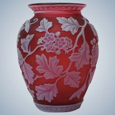 Fine Webb Red Cameo Glass Vase
