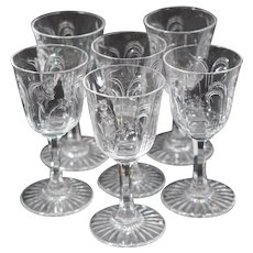 6 Baccarat Small Cordials with Intaglio Engraving