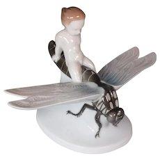 Rare Rosenthal Porcelain Dragonfly & Cherub Figure