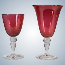 Steuben Gold Ruby Water Goblet & Wine Glass