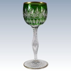 Green Cut to Clear Wine Glass