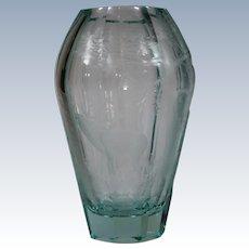 Moser Engraved Glass Vase with Moose & Forest Design