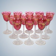 12 St Louis Massenet Cranberry and Gold Gilt wine Glasses