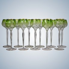 11 Moser Engraved Green Fading to Clear Wine Glasses
