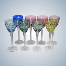 8 Cristallerie de Lorraine cut to clear Stemmed Glasses
