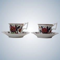 Pair of Antique English Imari Cups & Saucers Circa 1830