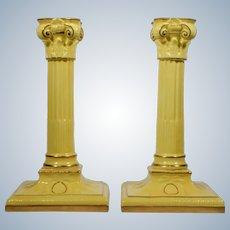 Royal Worcester Yellow/Gold Gilt Candlesticks - Circa 1920