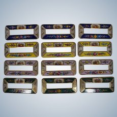Rare Set of 12 Dresden Hand Painted Place Card Name Plates