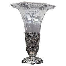 Dutch Silver & Engraved Glass Vase, Circa 1920