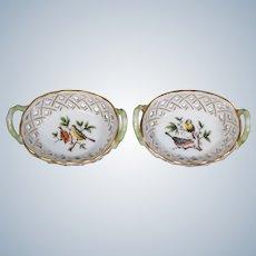 """2 Herend Pierced Baskets """"Rothchild Bird"""""""