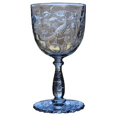 "Baccarat ""Phoenix"" Bird Engraved Cut Glass Water Goblet, Circa 1890"