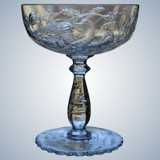 "Baccarat ""Phoenix"" Bird Engraved Cut Glass Saucer Champagne, Circa 1890"