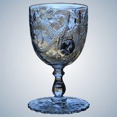 "Baccarat ""Phoenix"" Bird Engraved Cut Glass Handled Punch Cup, Circa 1890"