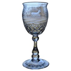 Finely Engraved Webb Cut Glass Water Goblet, Circa 1920