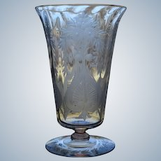 Steuben Engraved Cut Glass Footed Tumbler