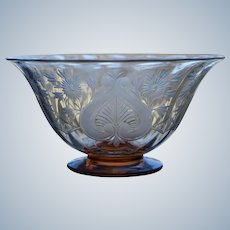 Steuben Engraved Cut Glass Footed Bowl, Van Dyke Pattern.