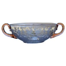 Steuben Engraved Cut Glass Cream Soup Bowl, Van Dyke pattern