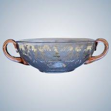 Steuben Engraved Cut Glass Cream Soup Bowl, Van Dyke pattern