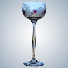 Moser Marquetry Wine Goblet - Rose, Circa 1900