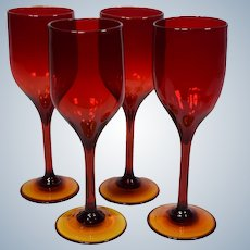 4 Rare Early Set of Josh Simpson Wine Glasses, 1976