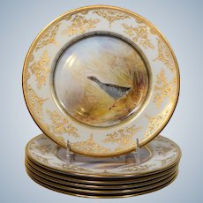 6 Royal Doulton Raised Gold Gilded Hand Painted Game Plates, Artist J. Birbeck Sen.
