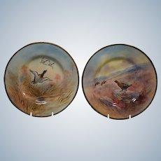 2 Royal Doulton Hand Painted Game Plates, Tiffany & Co, Artist J. Birbeck Sen.